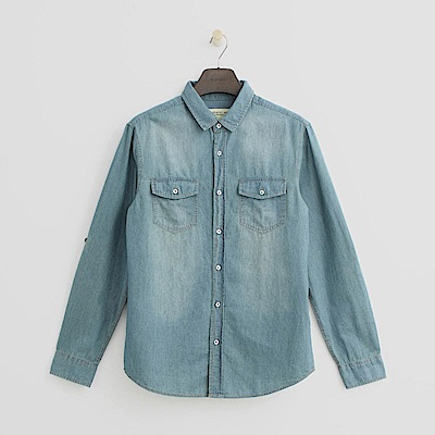 Hang Ten - 男裝 - 經典水洗單寧襯衫-淡藍色
