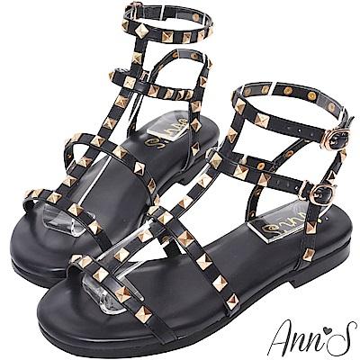 Ann'S歐美風格-金色鉚釘羅馬平底涼鞋-黑