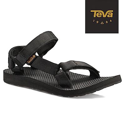 TEVA 原廠貨-女 Original Universal 緹花織帶涼鞋/雨鞋/水鞋 (黑)