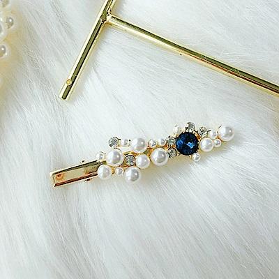 梨花HANA  韓國珍品藍寶石全珍珠髮夾妝飾