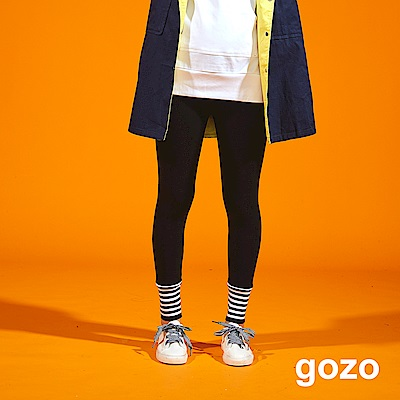 gozo 芭蕾旋律條狀羅紋縮口仿襪內搭褲(二色)