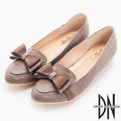 DN 舒適滿分 特殊壓紋內增高樂福鞋-咖