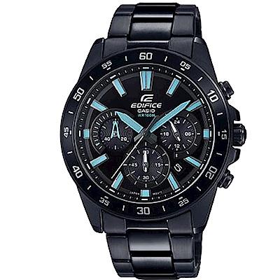 EDIFICE 經典簡約雙色搭配不鏽鋼腕錶(EFV-570DC-1)黑X藍時刻43.8mm