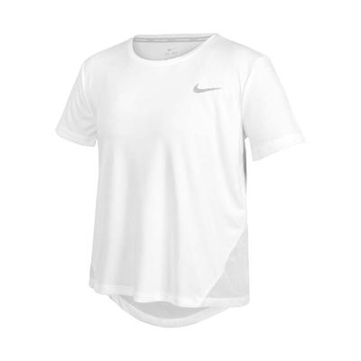 NIKE 女短袖T恤-DRI-FIT 慢跑 路跑 運動 上衣 反光 AJ8122-100 白銀
