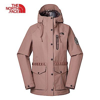 The North Face北面女款裸粉色防風防水衝鋒衣|3V3W8NU