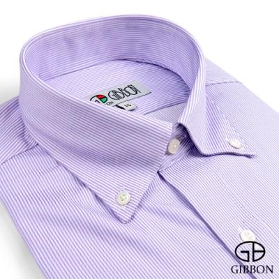 GIBBON 嚴選商務條紋長袖襯衫‧紫色