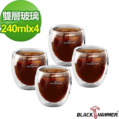 BLACK HAMMER雙層玻璃杯240ML(4入組)