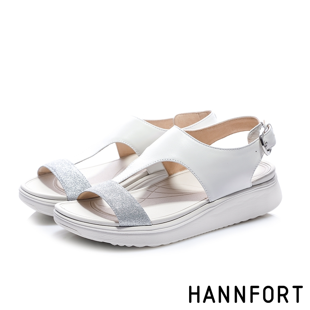 HANNFORT Ultra Comf 4D T字羊皮星沙厚底拖鞋-女-白