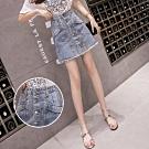 青春A字型顯瘦鈕扣丹寧短裙S-XL-WHATDAY