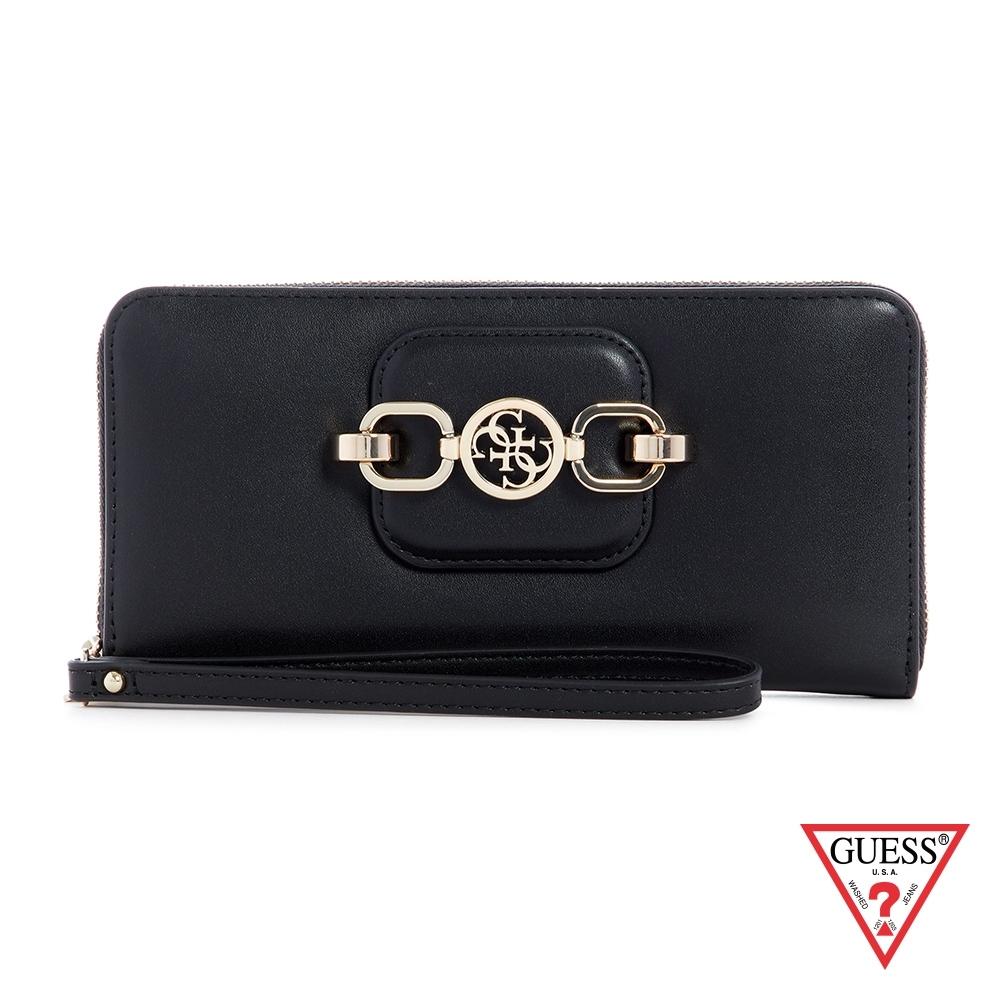 GUESS-女夾-氣質金屬飾扣手拿長夾-黑 原價1690