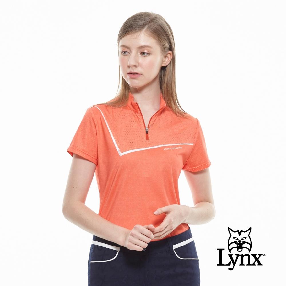 【Lynx Golf】女款吸濕排汗牛仔單寧紋路短袖立領POLO衫-橘色