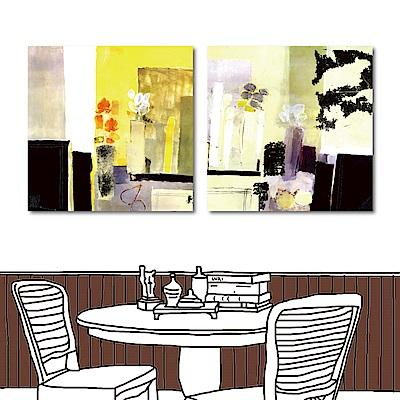 橙品油畫布 二聯 抽象水彩風花卉掛畫-花50x50cm