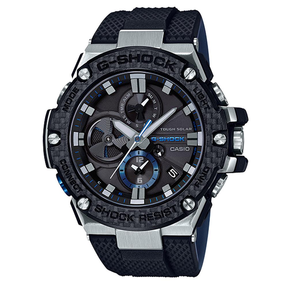 G-SHOCK輕量化高強度碳纖維結構智慧藍牙錶(GST-B100XA-1)黑53.8