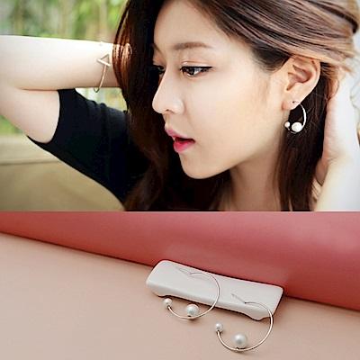 梨花HaNA 韓國925銀簡約質感珍珠圈圈耳環