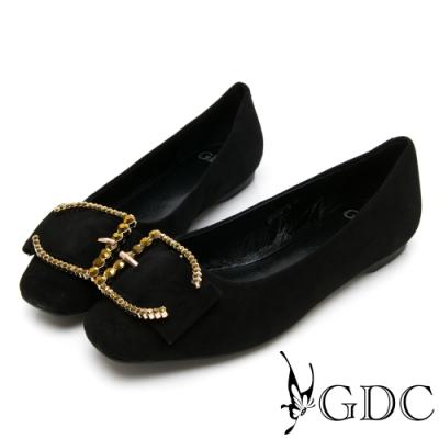 GDC-真皮微方頭歐美大器扣飾舒適平底包鞋-黑色