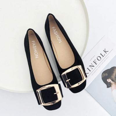 KEITH-WILL時尚鞋館 活力甜心金屬飾品平底鞋 黑