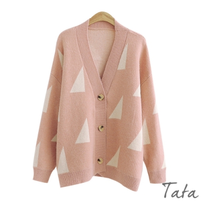 V領撞色三角針織外套 共二色 TATA-F