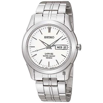SEIKO精工 CS 藍寶石水晶鏡面石英錶(SGG713P1)-銀/35mm
