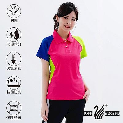 【遊遍天下】MIT台灣製女款抗UV吸濕排汗機能POLO衫S118玫紅