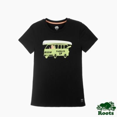 女裝Roots 海貍開車短袖T恤-黑色
