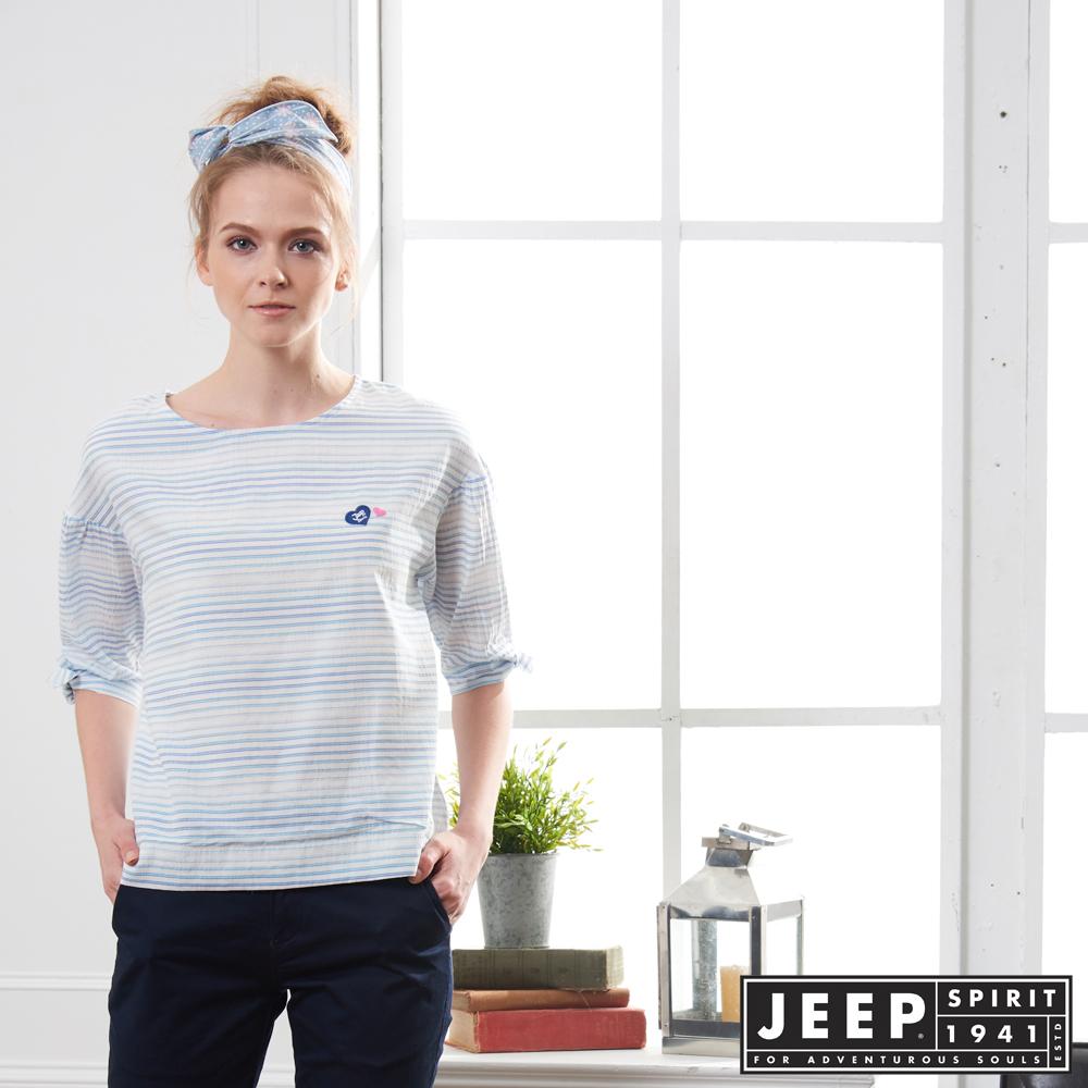 JEEP 女裝 漸層條紋造型短袖襯衫-藍色