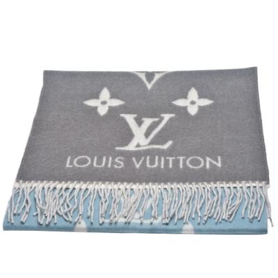LV M70868 REYKJAVIK GRADIENT雙面彩色織花純棉披巾/圍巾(玫瑰藍)