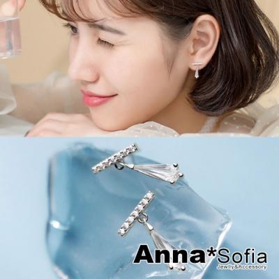 【3件5折】AnnaSofia 水滴長晶T字 925銀針耳針耳環(銀系)