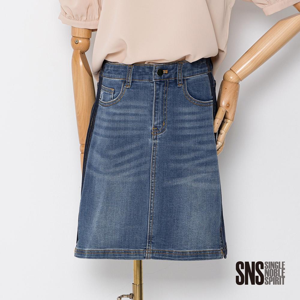 獨身貴族 率性休閒深淺色拼接牛仔短裙(1色)