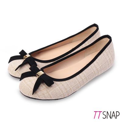 TTSNAP娃娃鞋-MIT英倫格紋寬帶蝴蝶結平底鞋 米