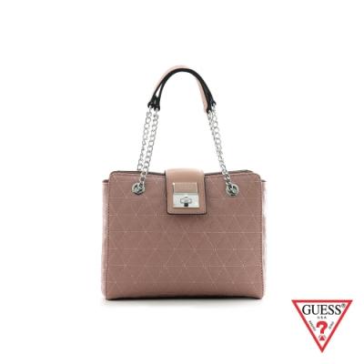 GUESS-女包-字母印花菱格紋鍊條手提包-粉 原價3690