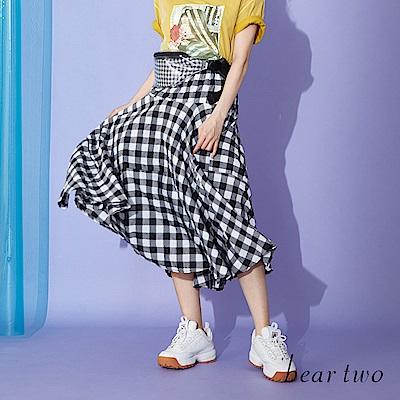 beartwo 復古時刻格棉質紋印傘裙(二色)