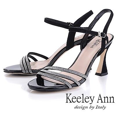 Keeley Ann耀眼新娘 水鑽鞋面細帶造型跟鞋(黑色-Ann系列)