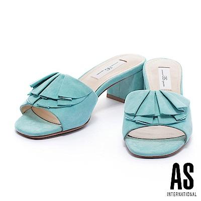 拖鞋 AS 柔美浪漫荷葉邊純色羊麂皮高跟拖鞋-綠