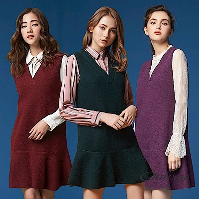 OUWEY歐薇 時尚V領雙面穿背心洋裝(紫/綠/紅)