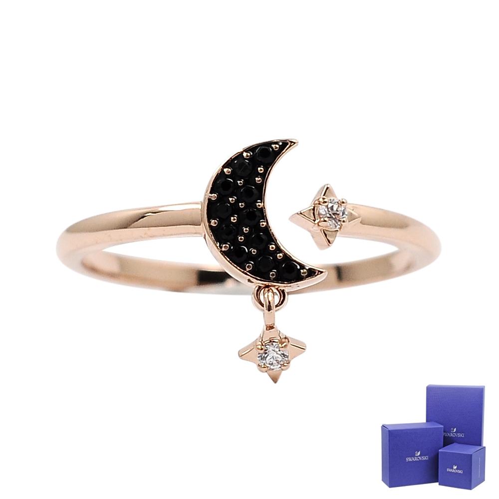 SWAROVSKI 施華洛世奇 SYMBOLIC璀璨水晶黑月繁星玫瑰金戒指