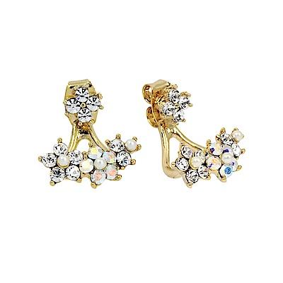 LOVERS TEMPO加拿大品牌 水晶花花造型 金色耳環