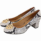 TORY BURCH Chelsea 黃銅標誌灰白蛇紋牛皮粗跟鞋