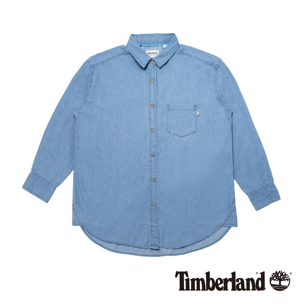 Timberland 女款退漿保色洗舒適寬鬆長款牛仔襯衫 B2404