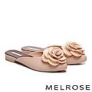拖鞋 MELROSE 恬雅氣質山茶花造型穆勒拖鞋-杏
