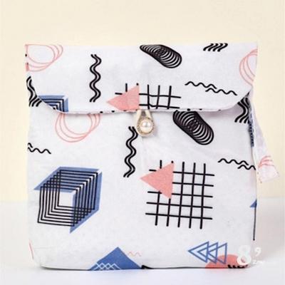 【89 zone】法式可愛生理期衛生棉包/帆布包(黑色線條)