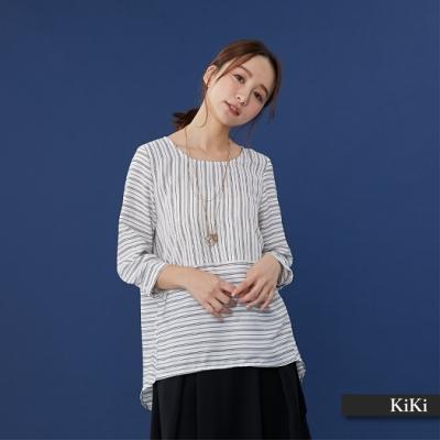 【KiKi】上班族條紋剪裁-襯衫(二色)