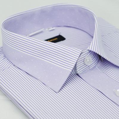 金‧安德森 粉紫色變化領窄版短袖襯衫fast