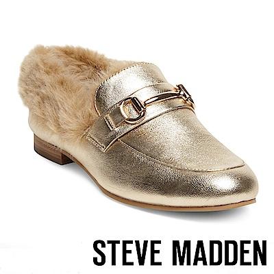 STEVE MADDEN-KERRY-F絨毛金屬扣牛津樂福鞋-金色