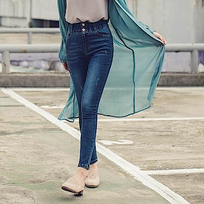 腰鬆緊排釦設計高腰牛仔窄管褲-OB大尺碼