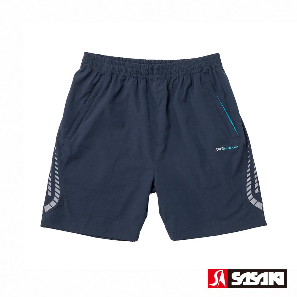 SASAKI 抗紫外線功能四面彈力網球短褲-男-丈青/亮藍-防疫居家運動首選