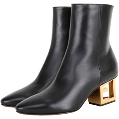 GIVENCHY G字銅金鞋跟小牛皮尖頭短靴(黑色)