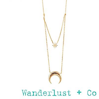 Wanderlust+Co 新月鑽石雙層項鍊 - 金色
