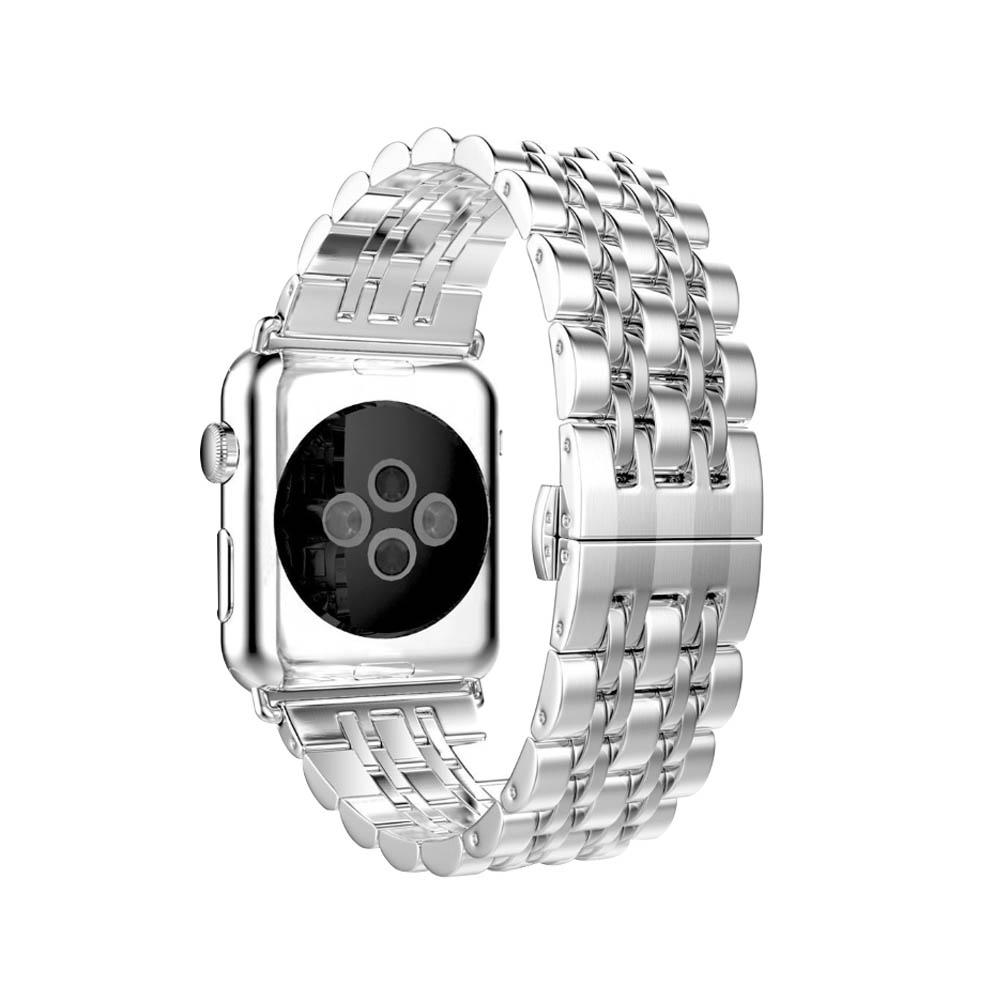 Apple Watch 不鏽鋼七珠蝶扣錶帶-贈拆錶器(銀-42mm)