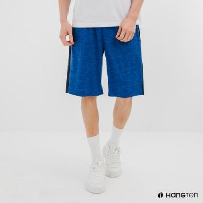 Hang Ten-男裝-恆溫多功能-REGULAR FIT標準鳥眼吸排紗涼感抗菌除臭撞色運動短褲-藍色