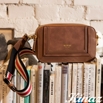 KINAZ 雙層拉鍊寬織帶拼接斜背小包-濃醇啡香-角落書店系列